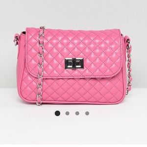 Pink Quilted cross body bag, vegan leather
